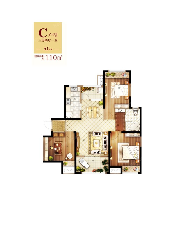 125平方房子设计图7型平面图