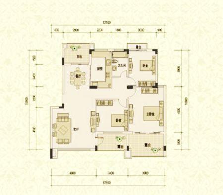 別墅級洋房 d4戶型五層平面圖 113—118平米 三室二廳一衛