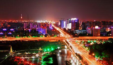 图为北京长安街夜景