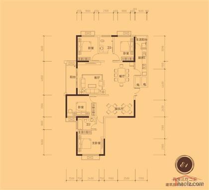 二楼120平方四室房子设计图