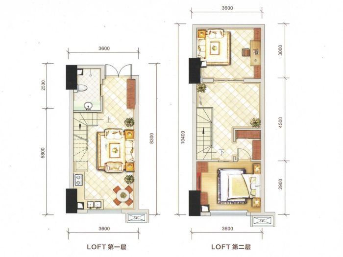 蓝光coco蜜城户型图 复式公寓 约42.00平米