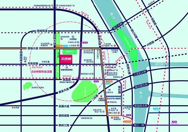金星大道,普瑞大道,黄金大道倚门而过,汽车西站,长沙火车西站近在咫