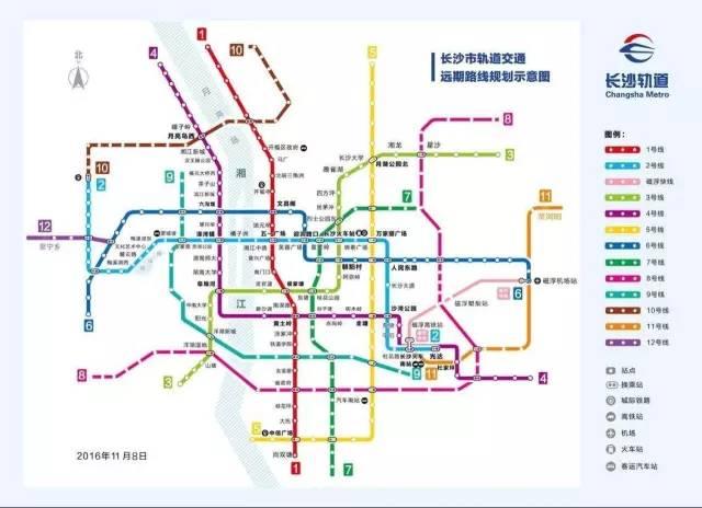 长沙共规划12条地铁线,目前已有地铁1号线,地铁2号线两条线路已通车.